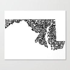Typographic Maryland Canvas Print