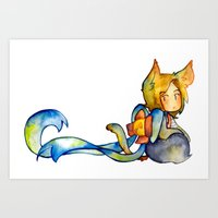bow Art Prints featuring bow by cynamon