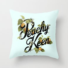 Peachy Keen : Mint Throw Pillow