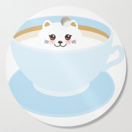 Cute Kawai cat in blue cup Cutting Board