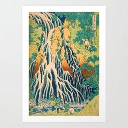 Pilgrims at Kirifuri Waterfall on Mount Kurokami in Shimotsuke Province Art Print