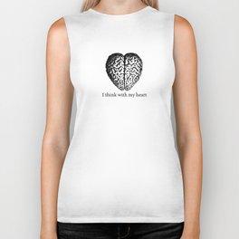 Black & White -  I think with my heart Biker Tank