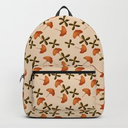 Fall Gingko Leaves // Green Florals Backpack