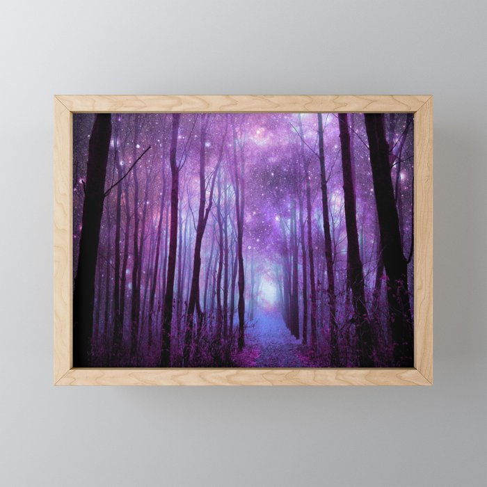 Fantasy Forest Path Purple Pink Framed Mini Art Print