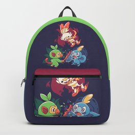 Starters // Grass Monkey, Fire Bunny, Water Frog - Dark Ver Backpack