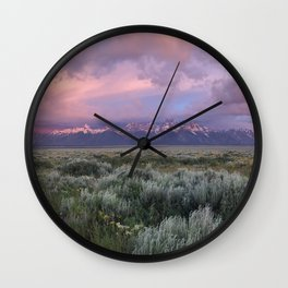 Teton Range Sunrise Wall Clock
