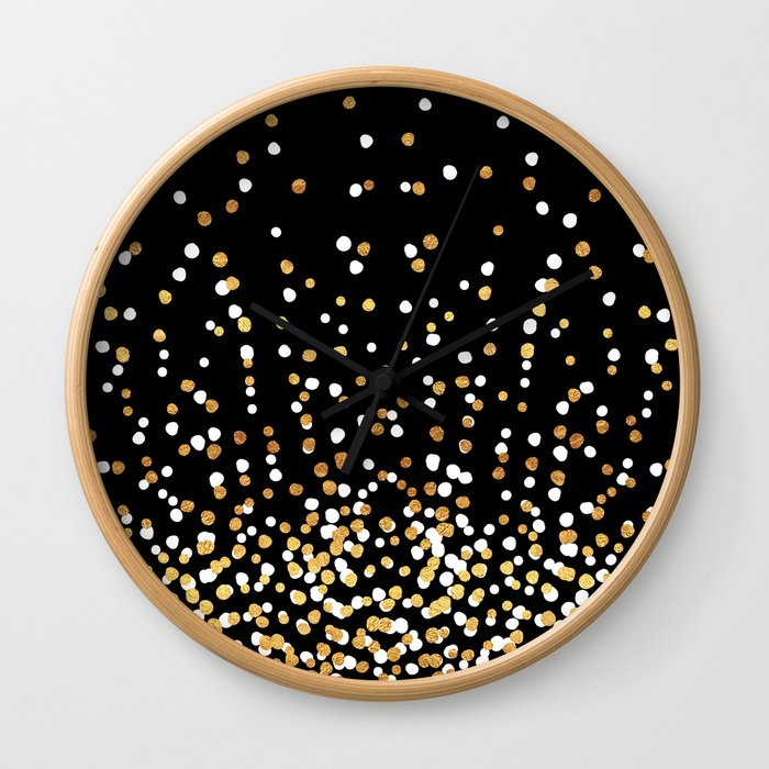 Floating Dots - White and Gold on Black Wall Clock