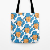 squirtle Tote Bags featuring  1 Squirtle, 2 Squirtle, 3 Squirtle, 4 by pkarnold + The Cult Print Shop