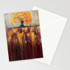 Tree in Autumn Landscape - Abstract Landscape Painting Stationery Cards