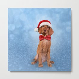 Drawing funny Vizsla pointer in red hat of Santa Claus Metal Print