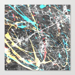 Abstract teal yellow paint splatters gray marble Canvas Print
