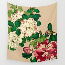Vintage Japanese Camellias. Deep Pink on Beige Wall Tapestry