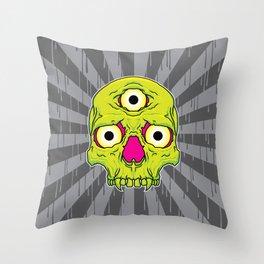 3 Eyed Jackass (green) Throw Pillow