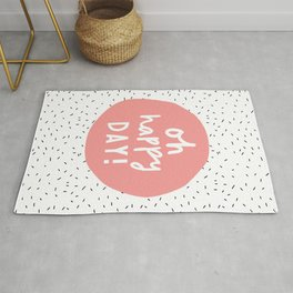 Oh Happy Day inspirational typography quote in pink peach wall art home decor bedroom Rug