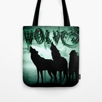 wolves Tote Bags featuring WolveS by shannon's art space