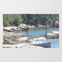 maine Area & Throw Rugs featuring Maine Sailboat by Rachael Nicole