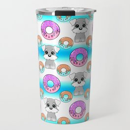 Cute happy funny little Schnauzer puppies, sweet yummy Kawaii adorable colorful donuts cartoon bright white and blue pattern design. Travel Mug