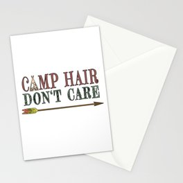 Camp Hair Don't Care - Camper Camping Vacation Stationery Cards