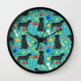 Black Lab dog toys cute dog breeds black labrador retriever gifts pet friendly Wall Clock