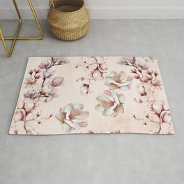 Watercolor Pink Magnolia Blossoms Rug