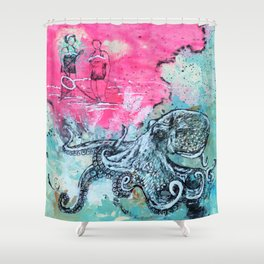 Octopus and Two Women Shower Curtain