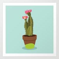 Green Pot Cactus Art Print