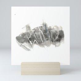 Black and White landscape, digital Mini Art Print