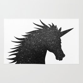 Black Glitter Unicorn Rug