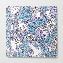 Tea Time Purple Metal Print