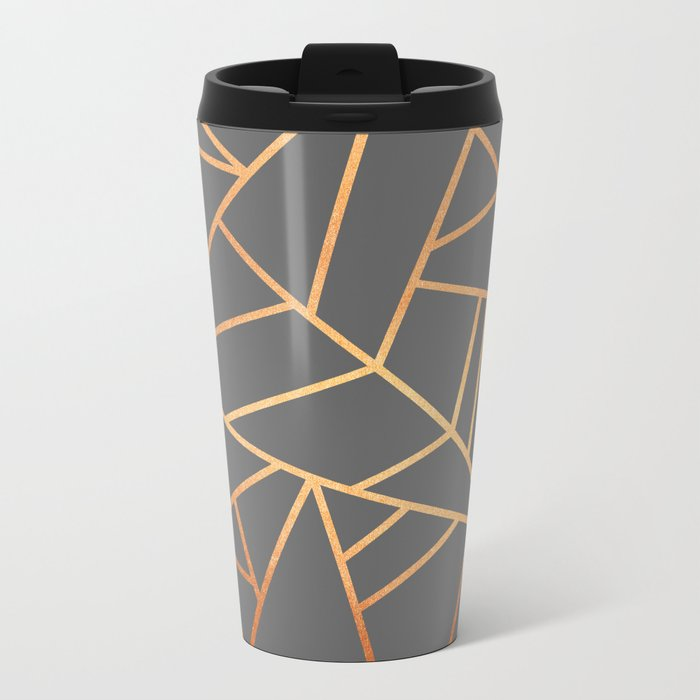 Copper And Grey Metal Travel Mug