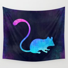 MOUSE IN SPACE // Animal Graphic Art // Watercolor Canvas Painting // Modern Minimal Cute Wall Tapestry