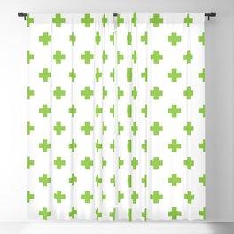 Pea Green Swiss Cross Pattern Blackout Curtain