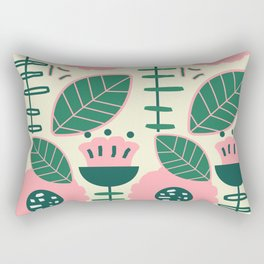 Modern flowers and leaves Rectangular Pillow