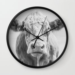 Animal Photography | Cow Portrait Minimalism | Farm animals | black and white Wall Clock