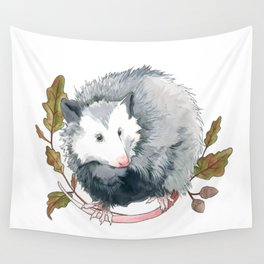 Possum and Oak Leaves Wall Tapestry