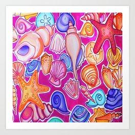 Colorful Seashells Art Print