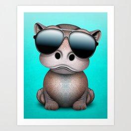 Cute Baby Hippo Wearing Sunglasses Art Print