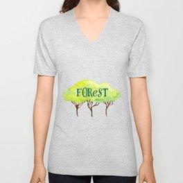 Watercolor forest Unisex V-Neck