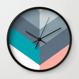 Vertical Chevron Pattern - Teal, Coral and Dusty Blues #geometry #minimalart #society6 Wall Clock