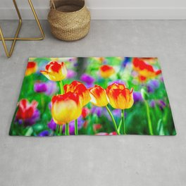 Group Of Yellow Tulip Flowers With Red Tops. Abstract Of Spring Rug