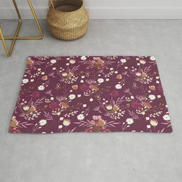 Burgundy white blush pink hand painted floral Rug
