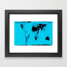 World Map : Gall Peters Blue Framed Art Print