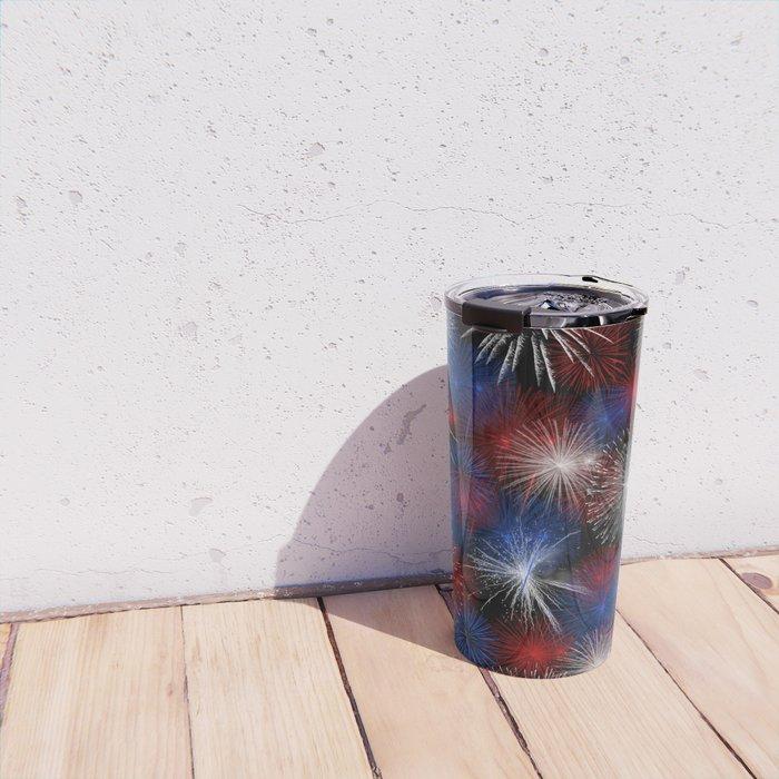 Fireworks Red White and Blue Travel Mug