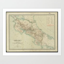 Vintage Map of Costa Rica (1903) Art Print