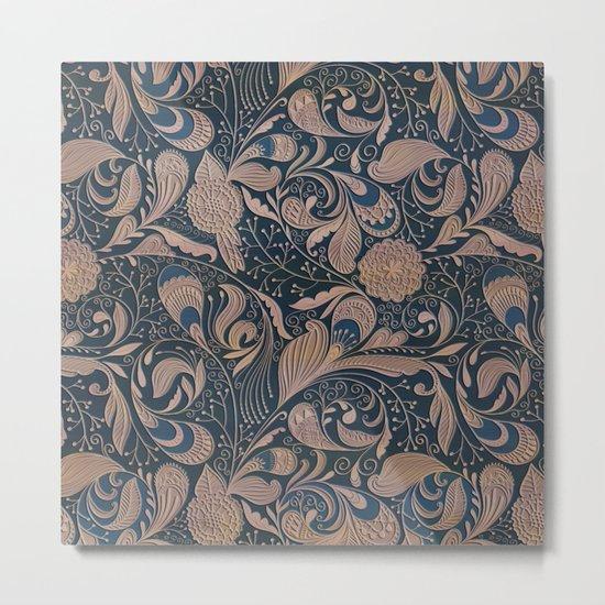Carved Floral Pattern Metal Print