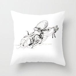 Kraken and the Ship Throw Pillow