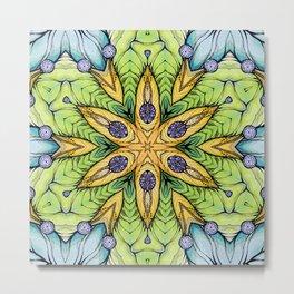 Yelow-green mandala Metal Print