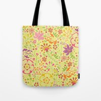 oriental Tote Bags featuring Oriental Blooms by Poppy & Red