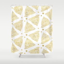 White & Gold Triangles Modern Pattern Shower Curtain