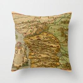 Map Of The Congo 1597 Throw Pillow